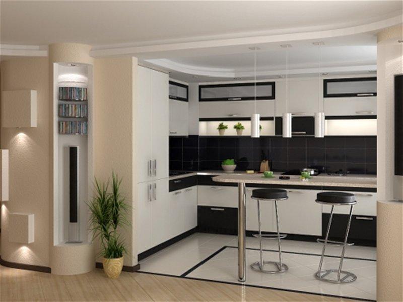 Дизайн интерьеров кухни с барной стойкой